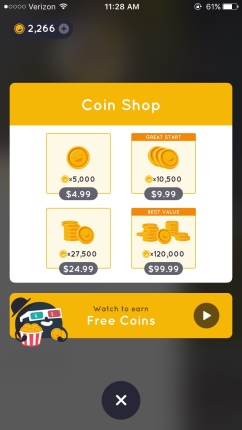 Click the bottom thing for free coins.